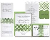 Celtic Knot Wedding Invitations - clover green, gravel gray, wedding invites, unending knot, irish, celt, ireland