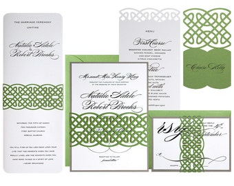 Celtic Knot Wedding Invitations - clover green, gravel gray, wedding invites, unending knot, irish, celt, ireland