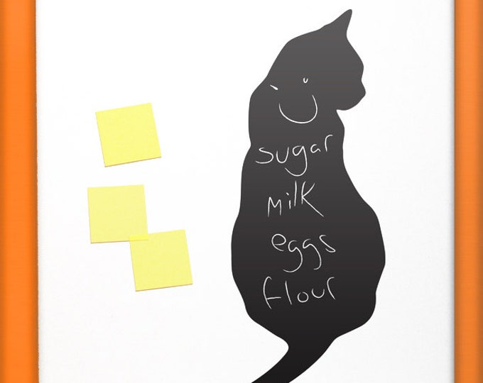 Black cat fridge sticker, chalk blackboard decal