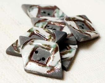 Sushi Diamond Raku Buttons – Stoneware - Pottery - Clay - Ceramic - Handmade