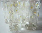 Glass Tumbler Culver Daisy Flower Floral Beverage Water Swanky Swig White Unique Applied Design