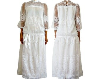 French Vintage 40s Wedding Dress