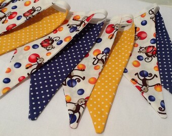 Circus Bunting banner, 11 flags yellows and blues, monkey fabric, circus or jungle theme bedroom