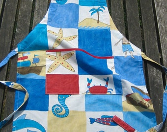 Personalized Child's Apron, Kid'sTreasure Island Apron with Pocket, Childrens Personalised Apron, Pure Cotton, Ages 2 - 6 yrs