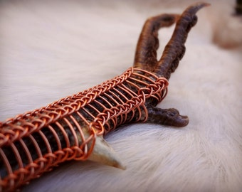 VIKING KNIT Wire Wrapped PHEASANT Foot Pendant - Copper Wire - Witchcraft - Sacred - Sexual Energy - Spirit Animal - Totem Animal - Garb