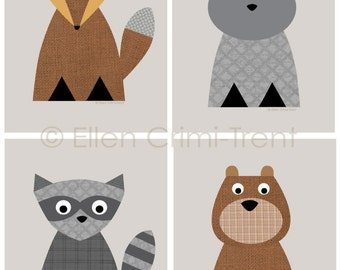 Kids Wall Art- Woodland Animal print set