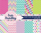Bounce House Girls Digital Paper Rainbow Pack with Chevron Stripes Polka Dots and Bunting Patterns Instant Download