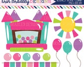 50% OFF SALE Bounce House Clipart Graphics Instant Download Bouncy Castle Digital Clip Art for Girls with Balloons Sun and Bunting