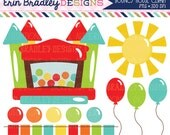 Bouncy Castle Clipart Graphics Instant Download Bounce House Digital Clip Art with Balloons Sun and Bunting