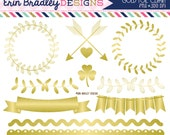 Gold Foil Clipart Graphics Instant Download Gold Vines Bunting Borders & Frame Clip Art Graphics