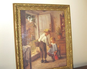 Vintage Philippe Sauvage Framed Art Print / Wall Hanging / Gift Idea / Vintage Art