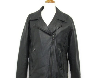 SALE. Vintage 80s Black Leather Biker Jacket / Women's - size XL
