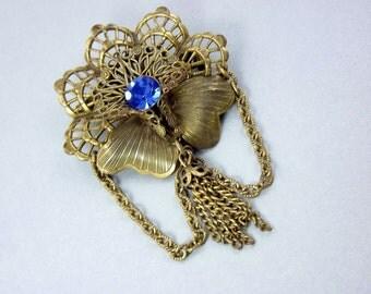 Bronze Filigree Flower Brooch, Blue Rhinestone, Chain Jewelry, Tassel Jewelry, 1950s Costume Jewelry