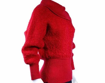 1970's deep red batwing knitted looped wool sweater by coordinates made in Hong Kong size medium shipping included within Canada and U.S.A