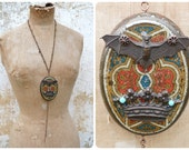 Comte Dracula long sautoir necklace assemblage upcycled repurpose tin box cover & antique Gothic stamps
