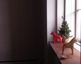 evergreen dala horse /folk art decor /holiday / hostess gift