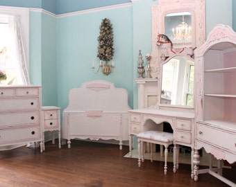 5 Piece Antique Bedroom Set shabby chic distressed Pink White Dresser bed Vanity Nightstand China Cabinet custom order sold