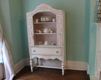 Antique China Cabinet Pink White Shabby Chic distressed Country Cottage prairie sold custom order