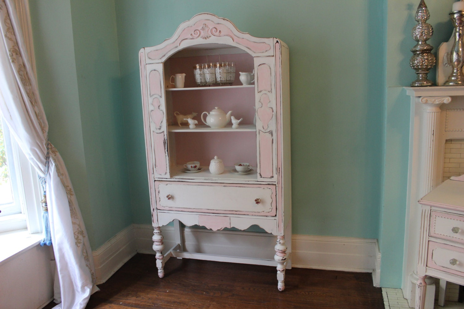 antique china cabinet pink white shabby by vintagechicfurniture. Black Bedroom Furniture Sets. Home Design Ideas