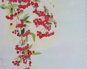 Berries in the Texas Snow, 11x14 watercolor painting, a Nan Henke original