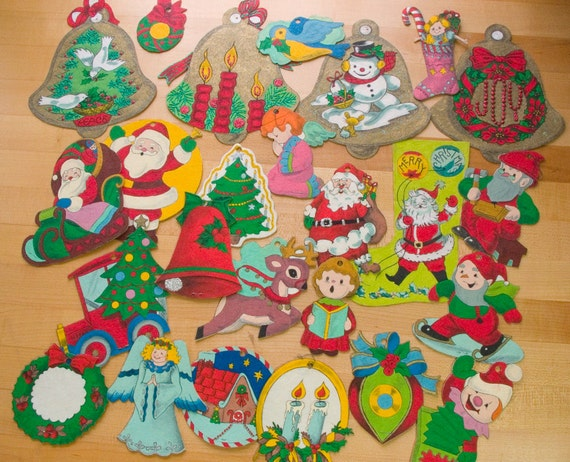 Items Similar To 25 Vintage Felt Christmas Tree Ornaments