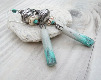 Turquoise and Clay Tribal Earrings - Long, Bohemian, Dangles with Stelring SIlver Ear Wires