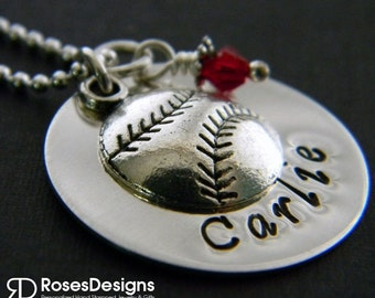 Custom Baseball Necklace, Softball Necklace, Personalized Jewelry, Handstamped Necklace, Ball Sports Jewelry
