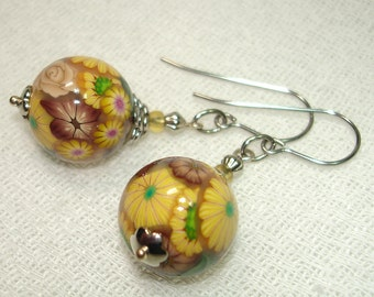 Wearable Garden Polymer Clay Sphere Earrings - Yellow, Taupe, and Brown Flowers in Silver - OOAK - Free Shipping within the U.S.