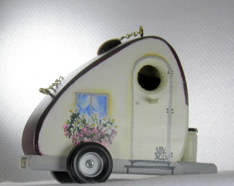 Eco-Friendly Ivory and Maroon Tear Drop Trailer, Retro, Handmade, Hand Painted,