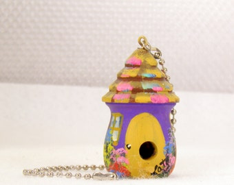Purple Birdhouse Fan / Light Pull , Gold Trim and Lots of Flowers