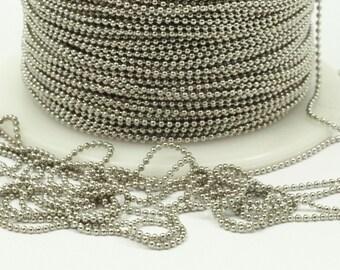 10 M. 1mm Silver Tone Brass  Ball Chain - W69-1  ( Z044 )