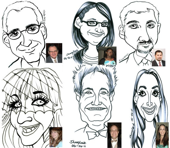 Caricature wedding place card party favor