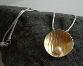gold pearl silver disc pendant embossed patterned bridal