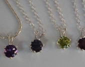Garnet Amethyst Iolite Peridot silver chain pendant