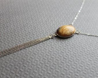 Sterling silver Tassel Necklace - Crazy Lace Agate - Long necklace