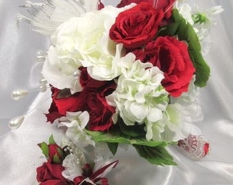 Marsala Red and White Bridal Bouquet with Pearls and White and Silver Feather Plumes ready to ship