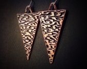 Wood grain pattern - Triangle Copper Earrings - Etched Copper Jewelry - Hand Drawn and Etched - handmade in Austin, Tx