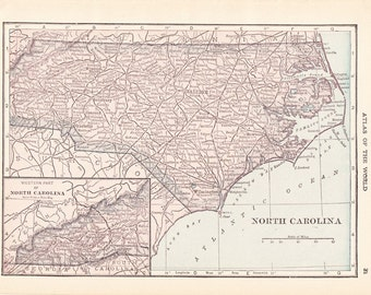 1913 State Map North Carolina - Vintage Antique Map Great for Framing 100 Years Old