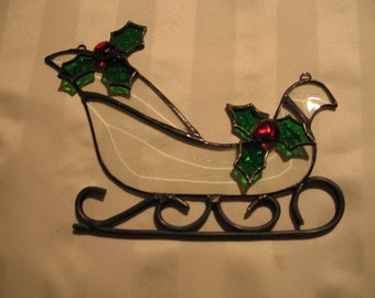 Stained Glass Leaded Glass Beveled sleigh Ornament/Sun catcher