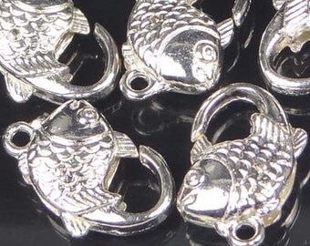 5 Silver Pewter Fish Lobster Claw Clasps 20x12mm (p169)