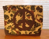 Camo Messenger with Appliqued Peace Signs