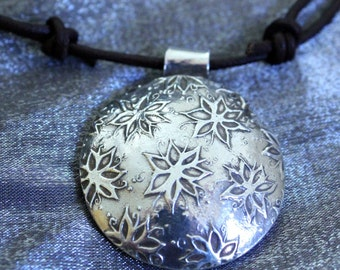 Hollow formed silver clay pendant, round fine silver pendant, floral design, chunky silver hollow pendant necklace, silver floral necklace