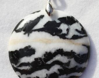 "Zebra Agate 1-7/8"" Round Pendant"