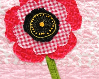 poppy  wall quilt - wall art quilt - single stem fringed poppy in bright pink and red on pink background with hand embroidery READY TO SHIP