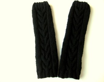 Ladies Leg Warmers, Hand Knitted Boot Toppers, Boot Cuffs, Horseshoe Cable, Black Pure Chunky Wool, Ready To Ship