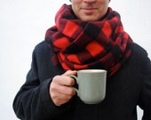 Plaid Blanket Scarf in Wool- Oversized Scarf- USA-milled Buffalo Check Wool- Mens Scarves, Clothing, Wrap- Winter Fashion