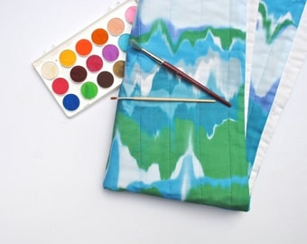 Organic Baby Quilt- Marbled Watercolor in Green and Blue- Eco-Friendly Baby- Modern Baby Nursery