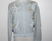 Vintage Sweater Pastel Grey with Beading 1950's
