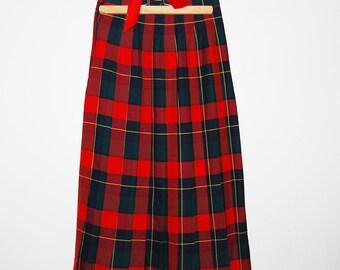 Vintage Skirt Plaid Pleated Wool