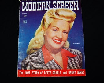 Antique Modern Screen Betty Grable 1943